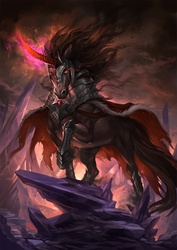 Size: 800x1132 | Tagged: safe, artist:sandara, king sombra, horse, pony, unicorn, antagonist, armor, badass, dark crystal, male, metal as fuck, raised hoof, realistic, realistic anatomy, realistic horse legs, solo