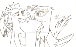 Size: 1280x794   Tagged: safe, artist:puddingalexthompson, garble, gilda, dragon, griffon, black and white, crack shipping, female, garilda, grayscale, heart, male, shipping, straight, this will end in death, this will end in tears and/or death, traditional art, watermark