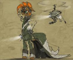Size: 1024x853   Tagged: safe, artist:madhotaru, oc, oc only, oc:twiggy, giraffe, dieselpunk, drone, steampunk, technology