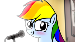 Size: 1280x720 | Tagged: artist:petirep, blushing, cute, fanfic:my little dashie, microphone, petirep's my little dashie, rainbow dash, rainbow dash presents, safe, tubby wubby pony waifu