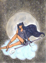 Size: 637x877 | Tagged: safe, artist:pink-kitty17, princess luna, bad anatomy, cloud, feet, fishnets, humanized, moon, night, sandals, scepter, sitting, skinny, sky, solo, staff, stars, toes, traditional art