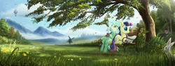 Size: 3266x1224   Tagged: safe, artist:devinian, bon bon, derpy hooves, doctor whooves, lyra heartstrings, pinkie pie, sweetie drops, time turner, pegasus, pony, rabbit, wasp, equestria daily, bench, doctorderpy, drink, duo focus, female, goggles, hot air balloon, mare, newspaper, pinkie spy, scenery, scenery porn, twinkling balloon, under the tree, windmill