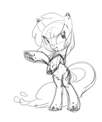 Size: 500x602 | Tagged: safe, artist:carnifex, oc, oc only, monster pony, lava, magma, monochrome, monster, obsidian, open mouth, rearing, smiling, solo, traditional art
