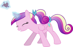 Size: 5002x3236 | Tagged: dead source, safe, artist:montanaferrin, princess cadance, a canterlot wedding, female, filly, filly cadance, heart, lip bite, magic, ponytail, simple background, solo, teen princess cadance, transparent background, vector, young, younger