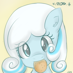 Size: 900x900 | Tagged: safe, artist:freefraq, oc, oc only, oc:snowdrop, bust, cookie, cute, head tilt, looking at you, mouth hold, nom, portrait, smiling, snowbetes, solo