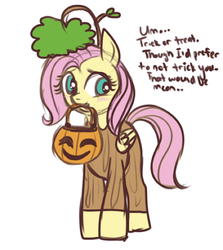 Size: 400x448 | Tagged: safe, artist:lulubell, fluttershy, costume, female, filly, fluttertree, halloween, holiday, jack-o-lantern, mouth hold, pumpkin, pumpkin bucket, simple background, solo, tree, tree costume, trick or treat, white background