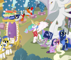 Size: 2219x1875 | Tagged: safe, artist:niggerfaggot, bags valet, princess celestia, princess luna, spike, twilight sparkle, alicorn, pony, alternate hairstyle, atlas, bellhop pony, chariot, clothes, commission, crown, fake screencap, female, grass skirt, hat, hawaiian shirt, heavy load, hilarious in hindsight, jewelry, list, mare, ponytail, regalia, rocko's modern life, royal guard, sandals, sluggage, statue, suitcase, sun hat, sunglasses, surfboard, throne, trunk, twilight sparkle (alicorn), umbrella, vacation, visor