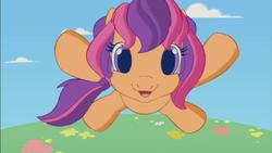Size: 853x480   Tagged: safe, scootaloo (g3), g3, g3.5, cute, cutealoo, female, impending glomp, jumping, solo