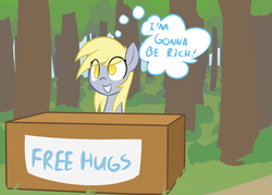 Size: 1280x914 | Tagged: dead source, safe, artist:adamscage, derpy hooves, pegasus, pony, booth, cute, derpabetes, eye clipping through hair, female, free hugs, grin, hug, mare, no pupils, smiling, solo, squee, this will end in tears, thought bubble, tree, you fool, you're doing it wrong