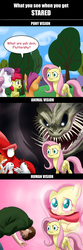 Size: 1257x3780 | Tagged: safe, artist:doublewbrothers, angel bunny, apple bloom, basil, fluttershy, scootaloo, sweetie belle, chicken, dragon, earth pony, fox, human, pegasus, pony, rabbit, unicorn, animal, comic, cute, cutie mark crusaders, eldritch abomination, grimcute, hnnng, monstershy, scary, shyabetes, stare, the stare, weapons-grade cute
