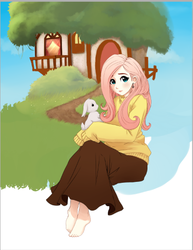 Size: 428x554 | Tagged: angel bunny, artist:starshinebeast, barefoot, clothes, feet, fluttershy, fluttershy's cottage, humanized, long skirt, safe, sweater, sweatershy, wip