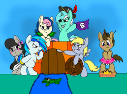 Size: 1972x1468 | Tagged: safe, artist:tilly-towell, bon bon, derpy hooves, dj pon-3, doctor whooves, lyra heartstrings, octavia melody, sweetie drops, time turner, vinyl scratch, alligator, crocodile, dragon, earth pony, pegasus, pony, unicorn, :o, :t, background six, bipedal, blank flank, blushing, bow, castle, clothes, colt, crossdressing, cute, drag, dress, female, filly, fort, frown, glare, grin, hat, male, pirate, playing, plushie, pretend, question mark, shield, skull, smiling, smirk, spoon, sword, tongue out, weapon, wings, younger