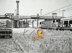 Size: 2044x1506 | Tagged: safe, artist:smellslikebeer, fluttershy, pegasus, pony, black and white, bygone civilization, city, crosshatch, female, folded wings, graffiti, ink, looking down, monochrome, neo noir, partial color, profile, solo, traditional art, train, urban
