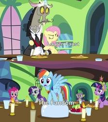 Size: 640x720 | Tagged: safe, edit, edited screencap, screencap, discord, fluttershy, pinkie pie, rainbow dash, rarity, spike, twilight sparkle, draconequus, earth pony, pegasus, pony, unicorn, keep calm and flutter on, /mlp/, caption, female, image macro, lauren faust, lauren-faust-visiting-4chan-gate, male, mare, meta, metaphor