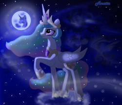 Size: 1162x1000 | Tagged: safe, artist:anna-krylova, princess celestia, moon, moonlight, night, snow, snowflake, solo