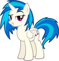 Size: 1280x1326 | Tagged: safe, artist:flamelauncher14, dj pon-3, vinyl scratch, alicorn, pony, cutie mark, dreamworks face, female, hooves, horn, looking at you, mare, race swap, simple background, smiling, solo, teeth, transparent background, vector, vinylcorn, wings