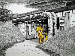 Size: 2048x1520 | Tagged: safe, artist:smellslikebeer, applejack, abandoned, bygone civilization, crosshatch, earth, female, graffiti, ink, overcast, partial color, pipe (plumbing), ruins, solo, traditional art, tunnel