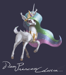 Size: 1440x1648   Tagged: safe, artist:assasinmonkey, princess celestia, deer, blue background, cloven hooves, cute, dear princess celestia, deerified, ear fluff, female, fluffy, horn, lidded eyes, looking at you, pun, raised hoof, simple background, smiling, solo, species swap, wings