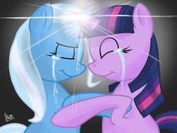 Size: 1024x768 | Tagged: safe, artist:benkomilk, trixie, twilight sparkle, crying, eyes closed, female, happy, horns are touching, hug, lesbian, magic, shipping, simple background, smiling, twixie