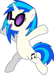 Size: 1072x1480 | Tagged: artist:chipmagnum, bipedal, cutie mark, dj pon-3, female, glasses, happy, hooves, horn, mare, open mouth, pony, safe, simple background, smiling, solo, sunglasses, transparent background, unicorn, vector, vinyl scratch