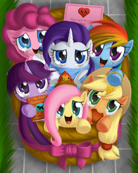 Size: 1200x1509 | Tagged: safe, artist:berrypawnch, applejack, fluttershy, pinkie pie, rainbow dash, rarity, twilight sparkle, earth pony, pegasus, pony, timber wolf, unicorn, apple, basket, berrypawnch is trying to murder us, clothes, crying, cupcake, cute, daaaaaaaaaaaw, dashabetes, diapinkes, female, filly, happy, hnnng, jackabetes, looking at you, mane six, open mouth, raribetes, scarf, shyabetes, smiling, story included, tears of joy, twiabetes, weapons-grade cute