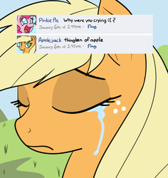 Size: 831x882 | Tagged: applejack, artist:reiduran, crying, facebook, misspelling, pinkie pie, sad, safe, thingken of life, unhapplejack