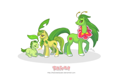 Size: 1280x807 | Tagged: safe, artist:almairis, bayleef, chikorita, meganium, plant pony, evolution chart, family, female, mare, pokémon, ponified, ponymon, simple background, transparent background, trio