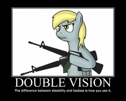 Size: 748x598 | Tagged: safe, artist:totallynotabronyfim, derpy hooves, pegasus, pony, assault rifle, demotivational poster, dual wield, female, gun, m16, mare, meme, motivational poster, rifle