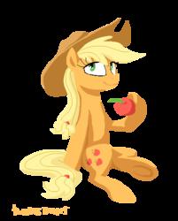 Size: 426x530 | Tagged: safe, artist:kaermter, applejack, apple, dexterous hooves, female, lineless, obligatory apple, pixel art, simple background, sitting, solo, transparent background, underhoof