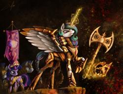 Size: 3000x2300 | Tagged: safe, artist:silfoe, princess celestia, twilight sparkle, alicorn, pony, armor, axe, badass, battle axe, braid, chainmail, double-headed axe, elements of harmony, epic, female, fire, flag, glowing horn, helmet, magic, mare, royal guard, technically advanced, twilight sparkle (alicorn), warrior, warrior celestia, weapon