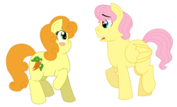 Size: 2884x1757 | Tagged: safe, artist:strawberry-spritz, carrot top, fluttershy, golden harvest, earth pony, pegasus, pony, blush sticker, blushing, butterscotch, female, fluttertop, half r63 shipping, looking at each other, male, mare, open mouth, raised hoof, rule 63, shipping, simple background, stallion, transparent background