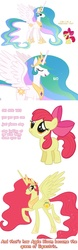 Size: 732x2332 | Tagged: safe, apple bloom, princess celestia, alicorn, earth pony, pony, alicornified, bloomicorn, comic, ethereal mane, female, filly, mare, race swap, simple background, white background