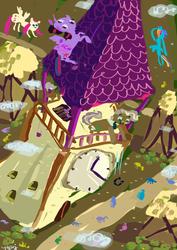 Size: 1000x1414 | Tagged: safe, artist:cygaj, fluttershy, mayor mare, rainbow dash, twilight sparkle, alicorn, pony, abstract, background pony, female, mare, twilight sparkle (alicorn)