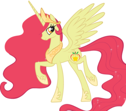 Size: 1951x1719 | Tagged: safe, apple bloom, princess celestia, alicorn, pony, bloomicorn, female, fusion, mare, recolor, simple background, solo, transparent background, vector