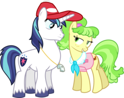 Size: 7529x6000 | Tagged: safe, artist:masem, chickadee, ms. peachbottom, shining armor, games ponies play, absurd resolution, bedroom eyes, hat, simple background, transparent background, vector, whistle