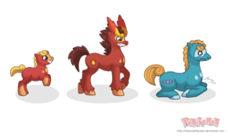 Size: 1280x768 | Tagged: safe, artist:almairis, brothers, colt, darmanitan, darumaka, evolution chart, foal, male, pokémon, ponified, ponymon, prone, rearing, simple background, stallion, transparent background, trio
