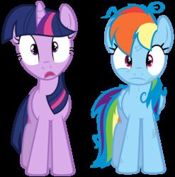 Size: 6400x6480 | Tagged: safe, artist:yanoda, rainbow dash, twilight sparkle, pegasus, pony, unicorn, games ponies play, absurd resolution, duo, female, mare, messy mane, simple background, transparent background, unicorn twilight, vector