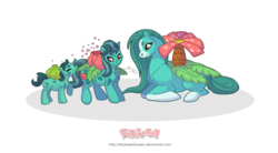 Size: 1024x565 | Tagged: safe, artist:almairis, bulbasaur, ivysaur, plant pony, venusaur, blaze (coat marking), evolution chart, female, filly, flower, flower pony, foal, mare, mother and daughter, pokémon, ponified, ponymon, simple background, socks (coat marking), transparent background, trio