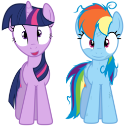 Size: 6400x6480 | Tagged: safe, artist:yanoda, edit, rainbow dash, twilight sparkle, pegasus, pony, unicorn, games ponies play, absurd resolution, duo, female, inverted mouth, mare, messy mane, simple background, transparent background, unicorn twilight, vector