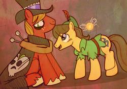 Size: 955x666 | Tagged: safe, artist:darkwingsnark, big macintosh, caramel, earth pony, pony, caramac, costume, gay, mac the ripper, male, nightmare night, peter pan, shipping, stallion