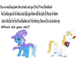Size: 4000x3000 | Tagged: safe, prince blueblood, trixie, bluetrix, bronybait, female, male, question, shipping, straight, text