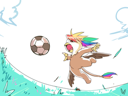 Size: 2100x1575 | Tagged: safe, artist:bakki, oc, oc only, oc:rainbow feather, griffon, action, action pose, football, interspecies offspring, kick, magical lesbian spawn, offspring, parent:gilda, parent:rainbow dash, parents:gildash, solo