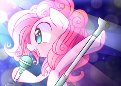 Size: 2500x1770 | Tagged: artist:joyfulinsanity, earth pony, heart eyes, microphone, pinkie pie, pony, pop star, safe, singing, smiling, solo, wingding eyes