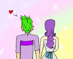 Size: 1280x1024 | Tagged: safe, artist:15madycat, rarity, spike, female, heart, humanized, male, shipping, sparity, straight