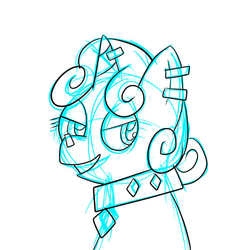 Size: 576x576 | Tagged: artist:pembroke, bust, choker, ear piercing, horn piercing, meaniebelle, meanie belle, monochrome, nose piercing, piercing, safe, simple background, smiling, solo, sweetie belle, white background