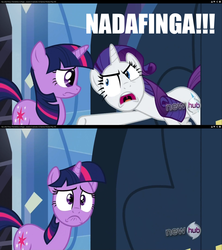 Size: 1280x1440 | Tagged: safe, edit, edited screencap, screencap, rarity, twilight sparkle, games ponies play, a christmas story, hub logo, image macro, insulting rarity, meme