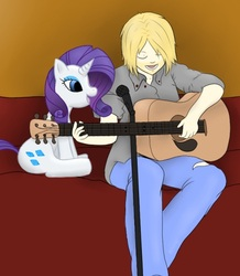 Size: 489x561 | Tagged: artist:blackcat027, guitar, human, kurt cobain, microphone, nirvana, rarity, safe, singing