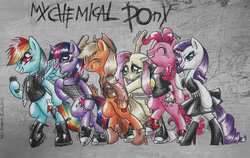 Size: 900x567 | Tagged: applejack, artist:my-unicorn-romance, band, boots, clothes, converse, dress, fluttershy, guitar, hoof boots, microphone, my chemical romance, necktie, parody, pinkie pie, punk, rainbow dash, rarity, safe, shirt, shoes, twilight sparkle