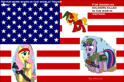 Size: 900x601 | Tagged: safe, artist:hinevin, fluttershy, twilight sparkle, oc, grenade launcher, gun, m60, machine gun, memorial day, united states, vietnam