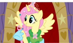 Size: 1024x607 | Tagged: alicorn, alicornified, artist:artisticflounder, clothes, crown, dress, fluttercorn, fluttershy, pony, race swap, safe, solo